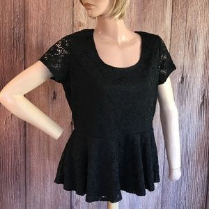 Absolutely Famous Black Lace Peplum top Large